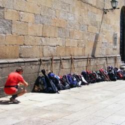 Pilgerrucksäche in Santiago de Compostela